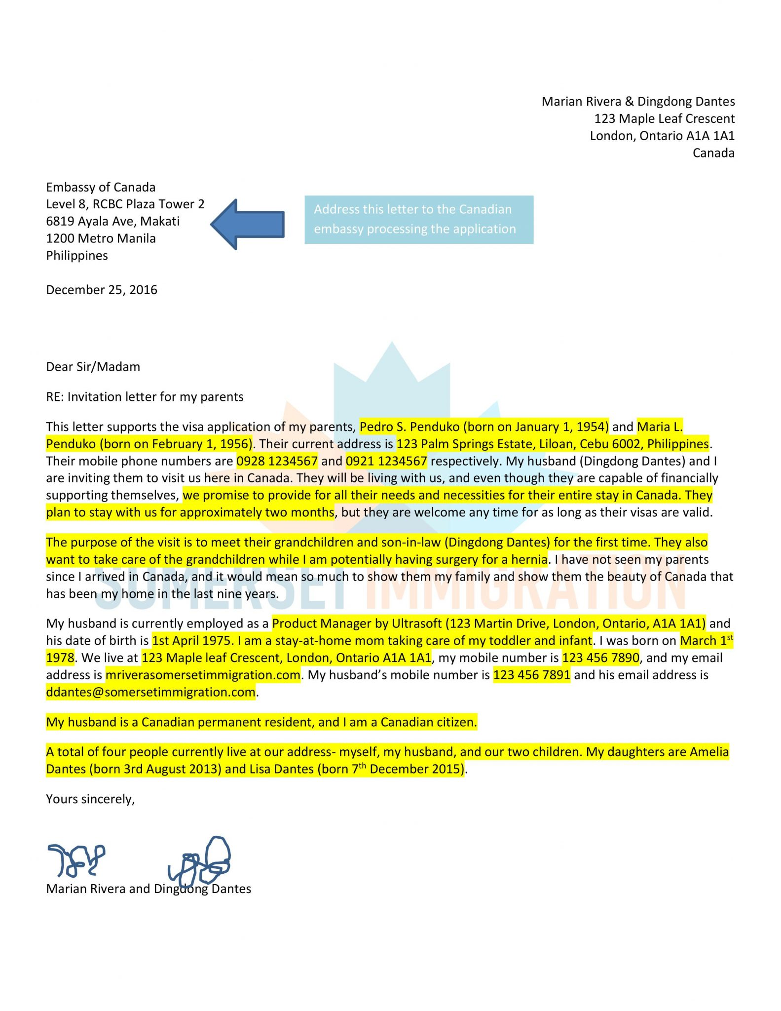 Sample Letter Of Invitation For Super Visa