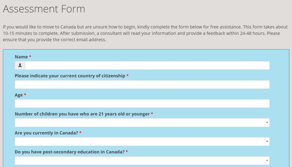 Canada Immigration Assessment Form
